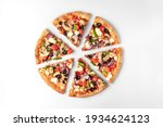 Slices Of Fresh Round Pizza...