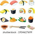 sushi sashimi japan asian food... | Shutterstock .eps vector #1934627699