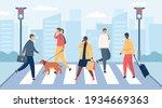 people on crosswalk. men and... | Shutterstock .eps vector #1934669363