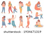 mother and kid. pregnant woman  ... | Shutterstock .eps vector #1934671319