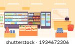 grocery shop interior.... | Shutterstock .eps vector #1934672306