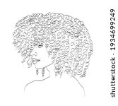 line art woman face drawing....   Shutterstock .eps vector #1934699249