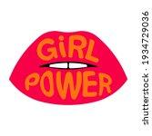 girl power. lettering quote  ... | Shutterstock .eps vector #1934729036