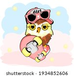 Funny Owl Girl With Pink Skate