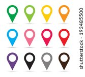 set of map pointers   vector | Shutterstock .eps vector #193485500