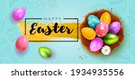 festive happy easter blue ... | Shutterstock .eps vector #1934935556