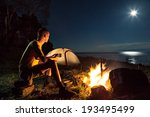 hiking tourist have a rest in... | Shutterstock . vector #193495499