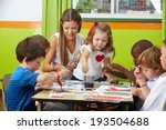 many children painting together ... | Shutterstock . vector #193504688
