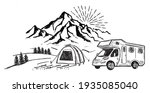 camping in nature  motorhome ...   Shutterstock .eps vector #1935085040