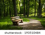 Bench In The Summer Park With...