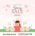 spring sale banner. vector...   Shutterstock .eps vector #1935106739