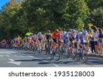 Small photo of La Rochelle, France - September 08, 2020: The peloton riding in La Rochelle during the stage 10 of Le Tour de France 2020.