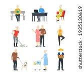 cartoon characters modern aged... | Shutterstock . vector #1935130619