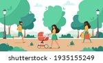 park activity. woman walking in ... | Shutterstock .eps vector #1935155249