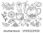 afternoon tea time. hand drawn... | Shutterstock .eps vector #1935222920