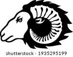 head of ram  male sheep  side... | Shutterstock .eps vector #1935295199