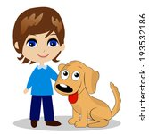 merry little boy with a dog... | Shutterstock .eps vector #193532186