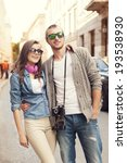 happy hipster couple in city   | Shutterstock . vector #193538930