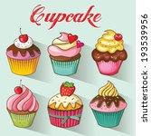 cupcakes design set. vector... | Shutterstock .eps vector #193539956