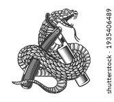Illustration Of Snake On Barber ...