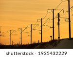 Electric Post At Sunset....