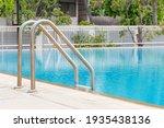 metallic ladder in swimming pool   Shutterstock . vector #1935438136