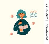 calm young woman with budget... | Shutterstock .eps vector #1935448156