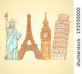 sketch eiffel tower  pisa tower ... | Shutterstock .eps vector #193550000