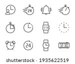 time and clock outline vector...