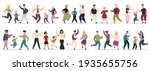 happy dancing families. parents ... | Shutterstock . vector #1935655756