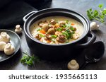 Pot Of Mushrooms And Cheese...