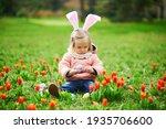 Cute Little Girl Wearing Bunny...