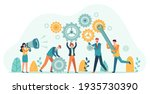 business people with gears.... | Shutterstock . vector #1935730390