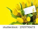 floral bouquet with blank white ...   Shutterstock . vector #1935750673