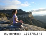 Profile Of A Woman Doing Yoga...