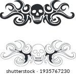 Vector Emblem Skull In Tongues...