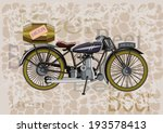 Retro Banner Motorcycle And A...