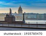 Embankment in Saint Petersburg. Sights of Russia. St. Isaac
