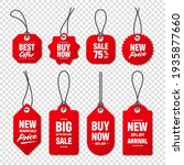 realistic red price tags... | Shutterstock .eps vector #1935877660
