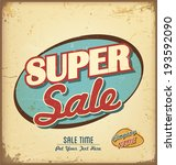 vintage and retro sale label  | Shutterstock .eps vector #193592090