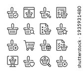 shopping basket line icons set. ... | Shutterstock .eps vector #1935931480