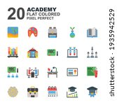icon set of academy. flat color ...
