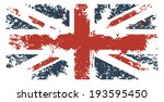 britain flag with grunge texture | Shutterstock .eps vector #193595450