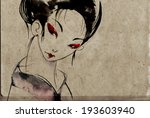 japanese geisha woman with red... | Shutterstock . vector #193603940