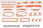 orange highlighter set   lines  ... | Shutterstock .eps vector #1936045729