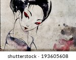 japanese geisha woman with red... | Shutterstock . vector #193605608