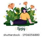 people enjoying spring seasons...   Shutterstock .eps vector #1936056880