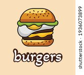 an illustration of burgers with ... | Shutterstock .eps vector #1936073899