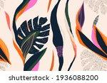 modern exotic jungle plants... | Shutterstock .eps vector #1936088200