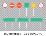 set of road signs and green... | Shutterstock .eps vector #1936091740